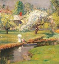 wendel lady with a parasol by a stream