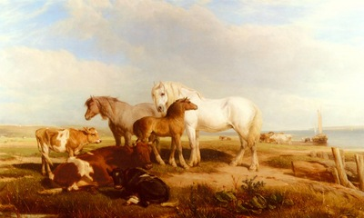 Willis Henry Brittan Horses And Cattle On The Shore