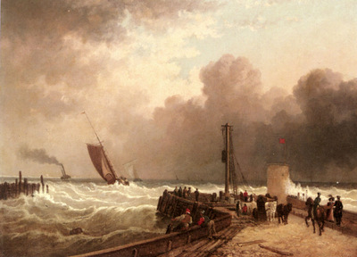 Wilson John Jock Shipping Approaching The Harbour Mouth In A Rough Sea