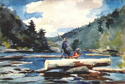 homer hudson river, logging