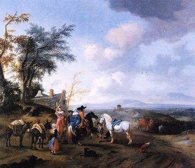 Wouwerman Pieter Landscape eith resting travellers Sun
