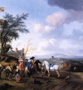 Wouwerman Pieter Landscape eith resting travellers Sun