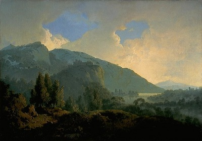 An Italian Landscape with Mountains and a River