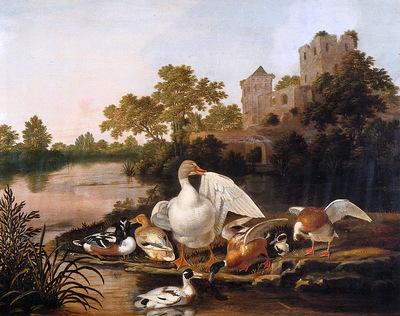 Wyntrack Dirck Ducks in a landscape Sun
