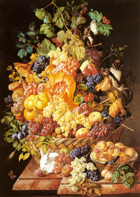 Zinnogger Leopold A Basket Of Fruit With Animals