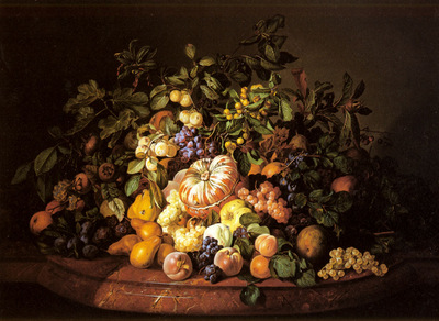 Zinnogger Leopold A Still Life Of Fruit On A Marble Ledge