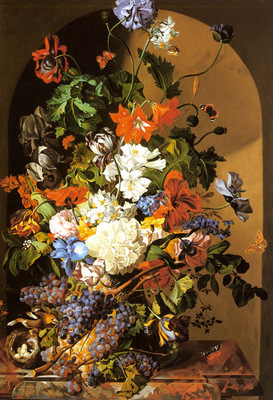 Zinnogger Leopold A Still Life With Flowers And Grapes