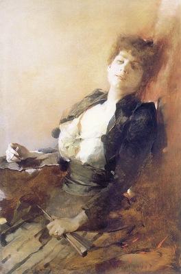 am Franciszek Zmurko Portrait of a Woman with a Fan and Ciga