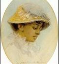 Zorn Emma Lamm i halmhatt  1881, akvarell Watercolour