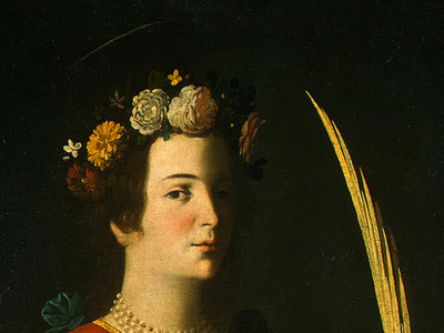 Zurbaran Saint Lucy, detlalj 2, c  1625 1630, NG Washington