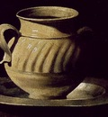 Zurbaran Still Life with Pottery Jars, detail, Prado