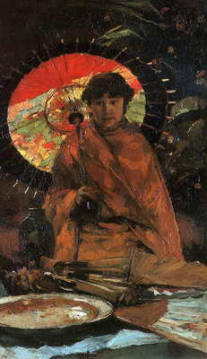 Zwart de Willem Girl with Japanes umbrella Sun