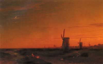 Aivazovsky Ivan Constantinovich landscape With Windmills