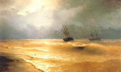 aivazovsky waves breaking on the crimean coast