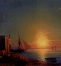 Aivazoffski Ivan Konstantinovich Figures In A Coastal Landscape At Sunset