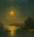 Aivazovskii Ivan A Moonlit View of the Bosphorus 1884 Oil On Canvas