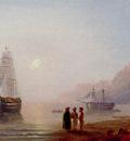 Aivazovskii Ivan Konstantinovich A Conversation On The Shore Dusk