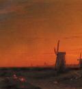 Aivazovsky Ivan Constantinovich landscape With Windmills