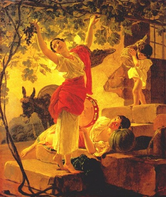 briullov young girl gathering grapes near naples
