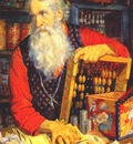 kustodiev merchant old man counting his money