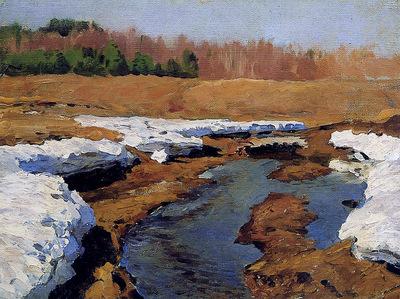 Levitan Isaac Spring last snow Sun