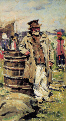 Makovshy Vladimir Old peasant man at barrel Sun