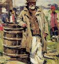 Makovshy Vladimir Old peasant man at barrel Sun