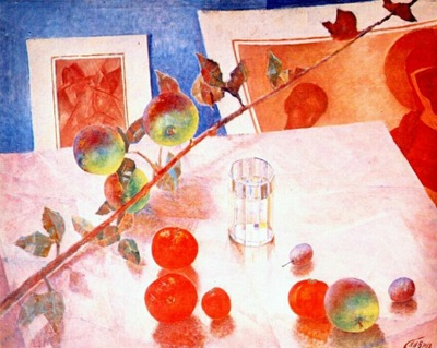petrov vodkin still life, twig of apple tree