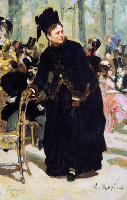 Repin Ilya Lady leaning against a chair Sun