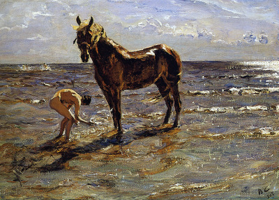 Serov Valentin Bathing a horse Sun