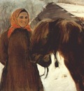 serov in the village peasant woman with a horse