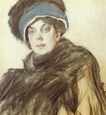 serov princess olga orlova colored crayons and charcoal on paper