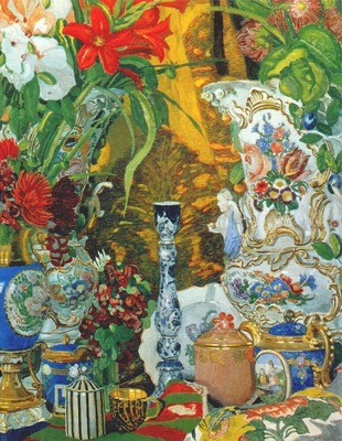 golovin still life with flowers and china