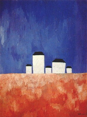 malevich landscape with five houses c1932