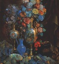 sapunov still life with vase flowers and fruit