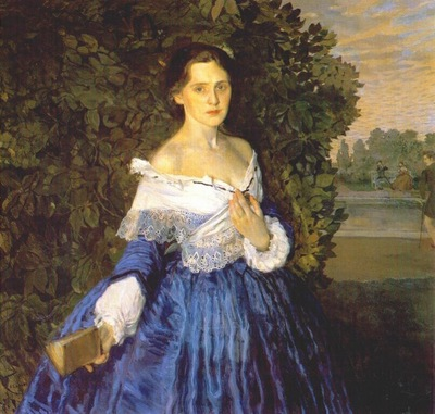 somov lady in blue the artist yelizaveta martynova 1897