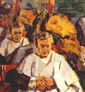 ulyanov self portrait with a barber 1914