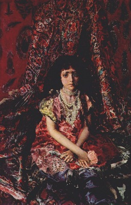 vrubel girl against a persian carpet background