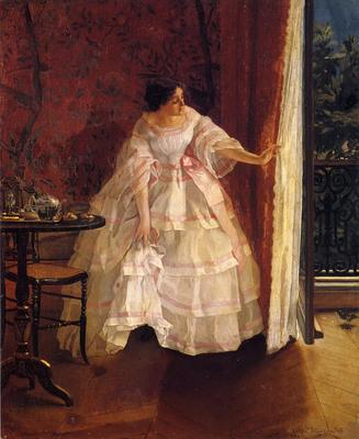 Stevens Alfred Lady at a Window Feeding Birds