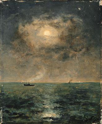 Stevens Alfred Moonlit seascape