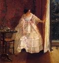 Stevens Alfred Lady at a Window Feeding Birds