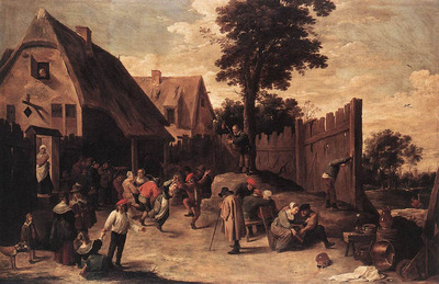 TENIERS David the Younger Peasants Dancing Outside An Inn