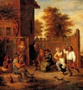 Teniers David Peasants Merrymaking Outside An Inn