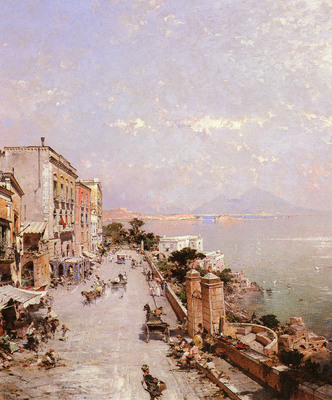Unterberger Franz Richard Belgian 1838 1902 A View Of Posilippo, Naples OC 82 5by70