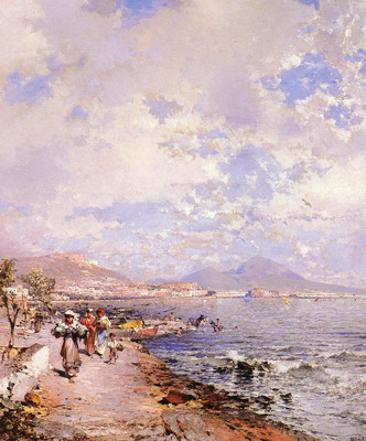 Unterberger Franz Richard Belgian 1838 1902 The Bay Of Naples OC 82 5by71cm