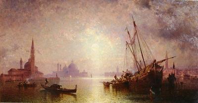 Unterberger Franz Richard Belgian 1838 1902 VENISE VUE DE S GEORGE OC 82 5by70