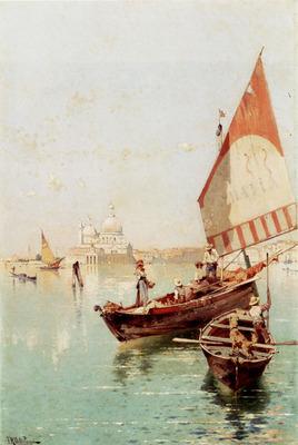 Unterberger Franz Richard Sailboat In A Venetian Lagoon