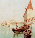 Unterberger Franz Richard Sailboat In A Venetian Lagoon