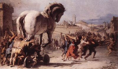 TIEPOLO Giovanni Domenico The Procession Of The Trojan Horse In Troy