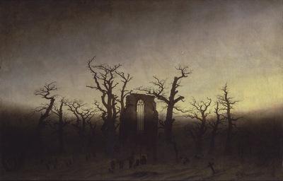 abbey among oak trees